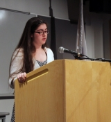 Erin Field reads her speech. Veritas photo