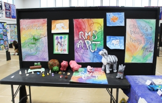 The Rogers Middle School exhibits were multi-media. Veritas photo