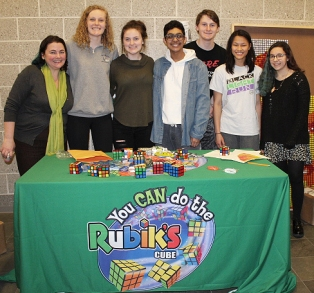 The Rubik's Cube Club members helped people solve the mystery of doing the Rubik's Cube. Veritas photo