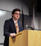 Sean Sugrue gives his speech at the Spellman Oratorical Contest. Veritas photo