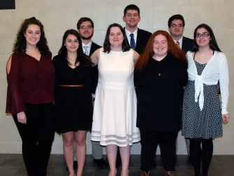 Eight seniors competed for $4,000 in scholarship money in the annual Spellman Oratorical Contest at Rockland High School held this year on April 10. From left front: Stephanie Blaney, Brianna Ferraro, Saoirse McNally, Kellie Berry and Erin Field. Back from left: Sean Fitzgerald, Aiden Glennon and Sean Sugrue. Front: Stephanie Blaney, Brianna Ferraro, Soirse McNally, Kellie Berry, Erin Field. Veritas photo