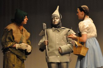 Scarecrow and Dorothy oil the Tin Man