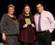 Ms Paulding and Mr Damon with freshman, Ann Kelley who was the Overall Academic Achiever for Grade 9.