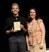 Ms Dore with junior, Francisco Oliveira. He won the Grade 11 French Academic Achievement Award.