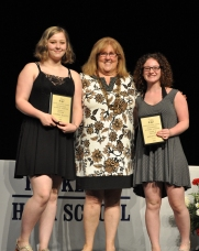 Ms Cahill with sophomores Cynthia Elliot and Jordan Pierce. They received their awards for English.