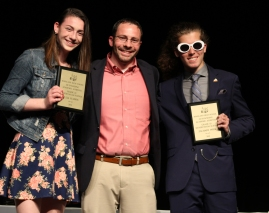 Mr MacAllister with sophomores, Julia Yeadon and Zachary Webb who received the Social Studies Awards for Grade 10.