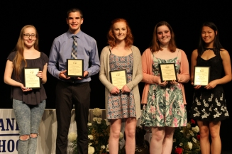 Grade 11 Multi award winners: From left: Leah Drago, Tyler Beatrice, Jasmin Morse, Emmy Kelley, Michelle Ramoska.