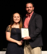 Mr MacAllister with freshman, Greta Russo, the Grade 9 Academic Achiever for Social Studies.