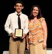 Hissam Dubois and Ms. Dore. Hissam won the Grade 9 French award.