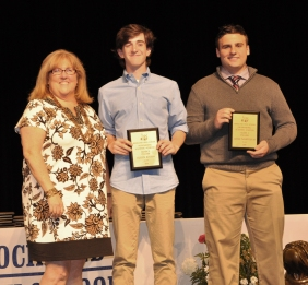 English academic achievers, James T and Cullen Rogers with Ms. Cahill, English Department head.