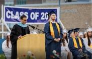 Principal John Harrison reads Zach's plans and scholarships