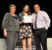 Mr Damon and Ms Paulding with sophomore, Julia Yeadon. She received a Leadership Award.