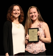 Ms McComb and sophomore Kayla Mantell. Mantell received her award for achievement in Music.
