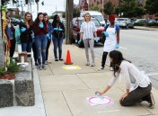 RHS art students learn how they will do their sidewalk art footprints on Friday, Sept. 14.