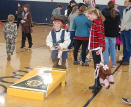 Pirate plays game in the gym. photo by Danting Zhu.