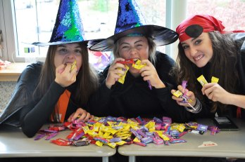 Junior Maryn Monet, seniors Jenna Burns and Maddie Blonde are hoarding the candy.