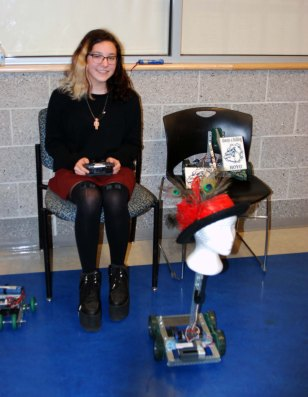 Paige Boggs with the robot.