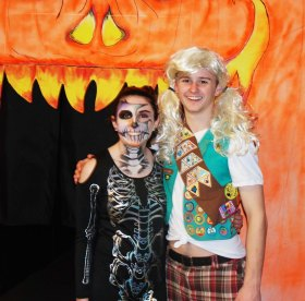 Seniors: Committee Chair, Sarah Pollard and Vice Chair Sean Morrissey in front of the Haunted Hallway. photo by Danting Zhu