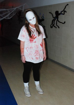 Member of the Haunted Hallway looking a little unhappy with the paparazzi. photo by Danting Zhu