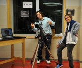 Austin Wood demonstrates the telescope