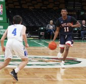 Josiah Durand brings the ball to the front court at the TD Garden on Sunday, Jan. 6.