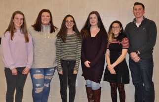 Poetry Out Loud contestants were from left: Kathleen Nee, Jillian Mitchell, Megan Diver, Paige Boggs and John Ellard. Veritas photo