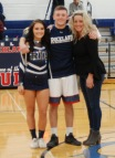 Senior cheerleader Bella Burns, Mike Ebersole and Bella's mom, Jen.
