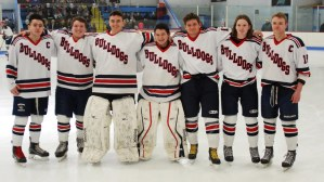 Hockey seniors honored at senior night: Brian Goode, Nick LaBollita, Jake Johnson, George Selados, Matt Dalton, CJ Armstrong and Evan Gormley. photo by Ashley Murphy