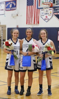 Nicole Blonde, Ashley Murphy and Maddie Blonde on senior night.
