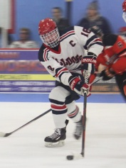 Evan Gormley in the game with Middleboro. Photo from Bulldogs Hockey