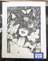 """Jailene Escalera's pen and ink drawing, """"Garden of Eden"""" is on display."""