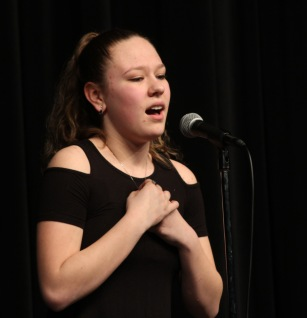 "Junior Kayla Mantell leads off the solo performances with ""Once Upon a Time"" from the muiscal Brooklyn."