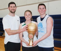 The winners, Triple Threat: from left: Chris DeVine, Emily Gray and John Ellard with their championship trophy. photo by Ashley Murphy