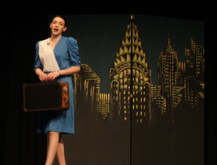 "Julia Yeadon sings ""NYC"" at dress rehearsal of Annie on Weds. night. Veritas photo"