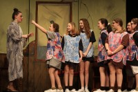 Emily Gaboriault as Miss Hannigan with the orphanage girls. Veritas photo
