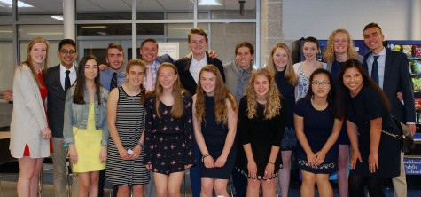Some of the juniors who were inducted into the Pentelic Chapter of the National Honor Society on May 15. Veritas photo