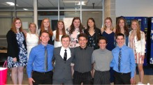These seniors are happy after the NHS Induction ceremony on May 15. Veritas photo
