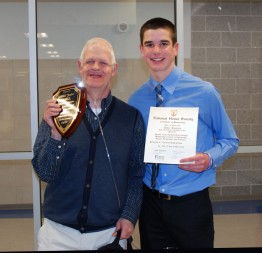 Jimmy Cahill and Tyler Beatrice after Jim was inducted as an honorary member into the National Honor Society. Veritas photo