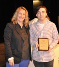 Bryce Taylor, Grade 11 Art winner with Ms. Thompson