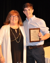 Cullen Rogers, Grade 10 English Award winner with Ms. Cahill
