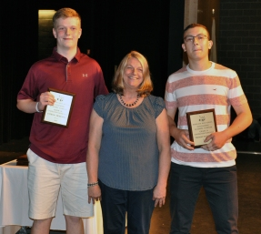 Mrs. Folsom with Grade 1 Construction and Technology Award winners, Patrick Moriarty and Thomas McSweeney