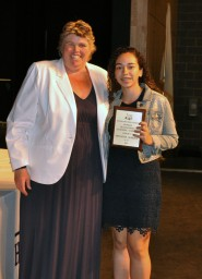 The Overall Academic Achievement Award for Grade 9 was presented to Monalisa Almeida by Ms. Paulding