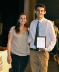 Hissam Dubois received the Grade 10 award in French from Mrs. Shaughnessy