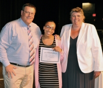 Nijaya Ochlschlagel received a Hugh O'Brien Award from Mr. Damon and Ms. Paulding.