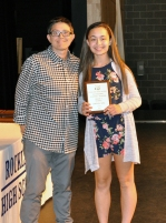Jordan Stec, Grade 9, received the Science Award from Ms. Hoyo