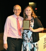 Mr. Murphy presents Mariana O'Connor with the Grade 10 Digital Media Award