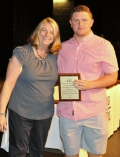 Nick Leander received Grade 10 Award for Phy. Ed from Mrs. Folsom