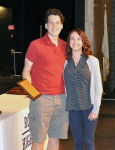 Phil Pattinson received the Grade 11 Music Award from Ms. McComb.