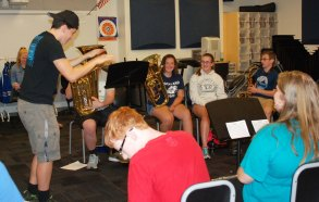 Phil Pattison directs a band session at Band Camp.