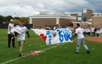 The breaking of the Buds Banner was the introduction to the first Unified Pep Rally.